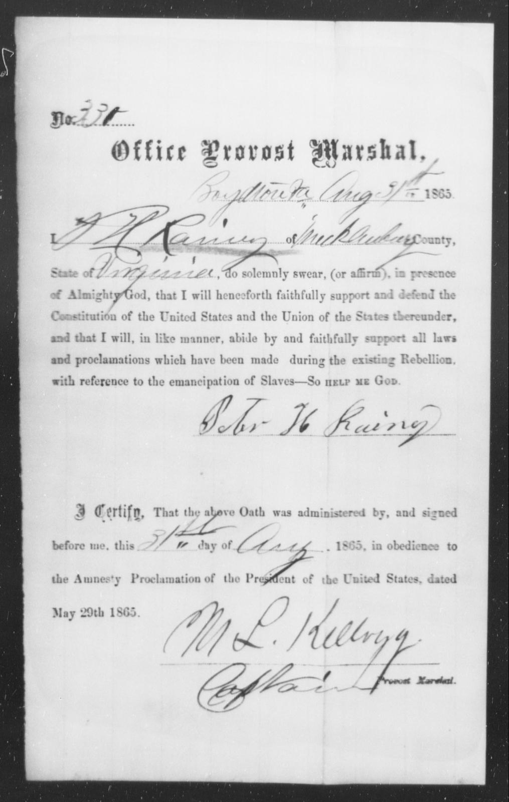 Rainey, Peter H - State: Virginia - Year: 1865