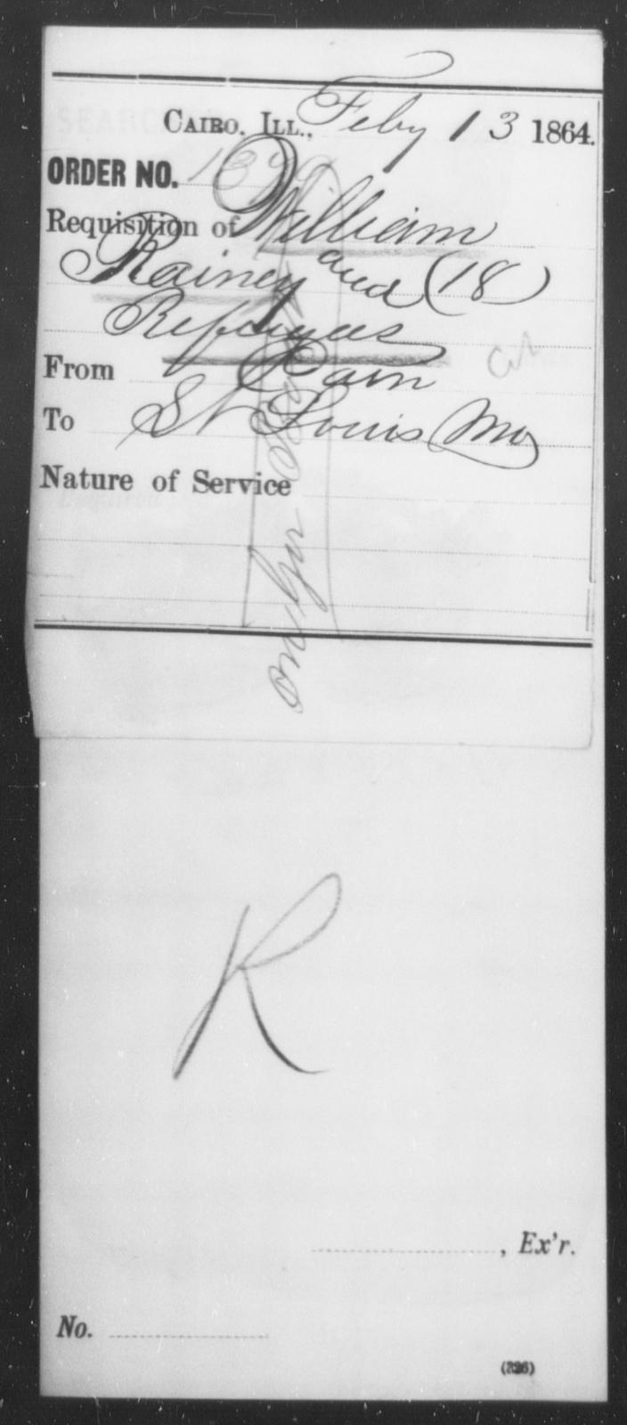 Rainey, William - State: Illinois - Year: 1864