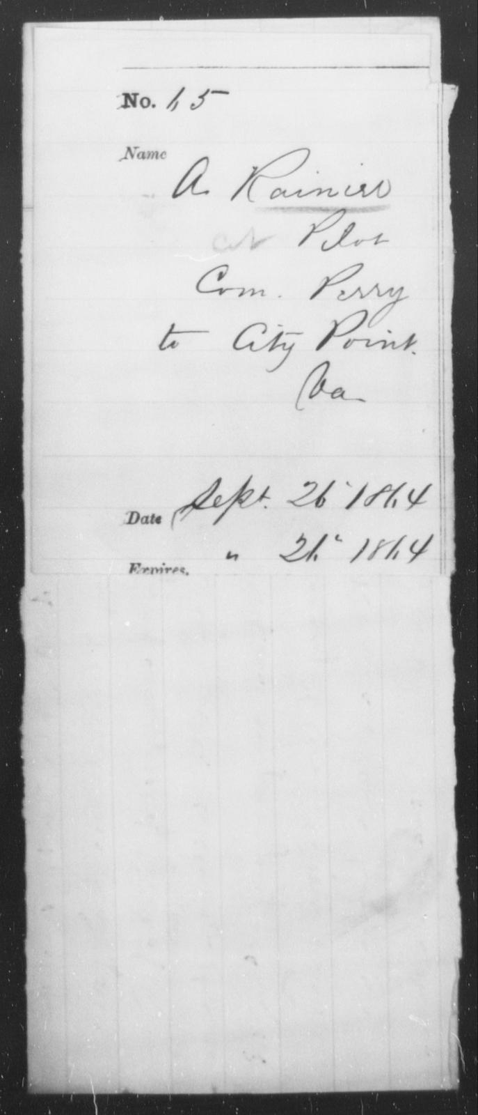 Rainier, A - State: Virginia - Year: 1864