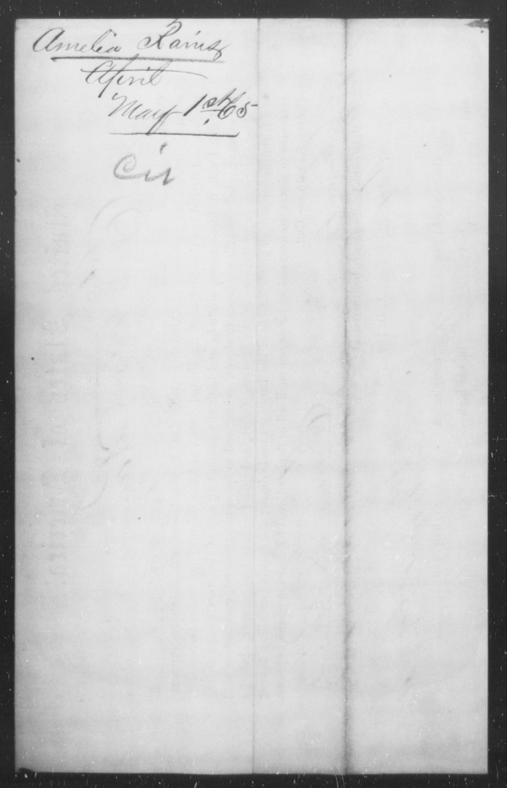 Rains, Amelia - State: [Blank] - Year: 1865