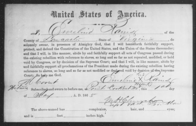 Rains, Emeline - State: Virginia - Year: 1865