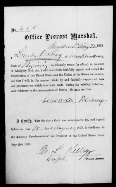Ramey, Lander - State: Virginia - Year: 1865