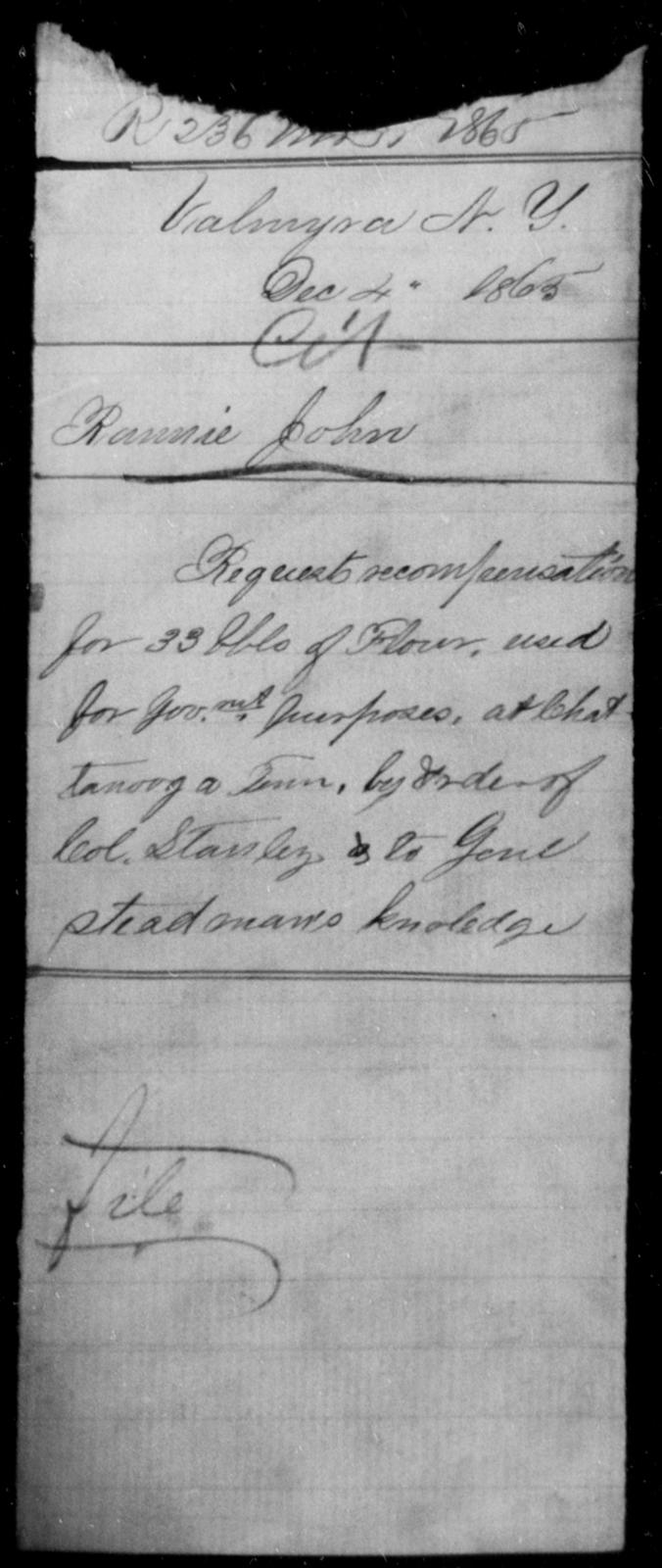 Rannis, John - State: New York - Year: 1865