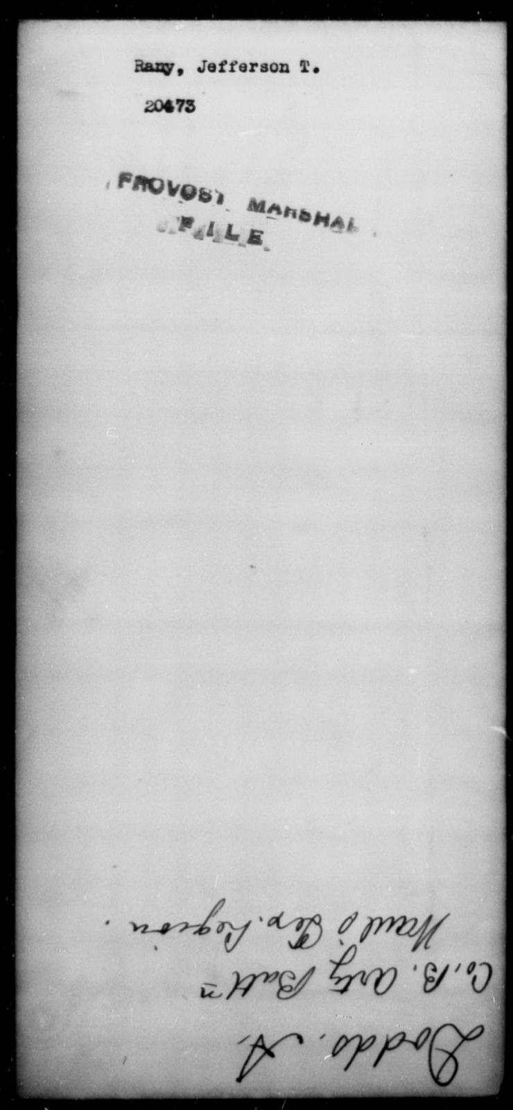 Rany, Jefferson T - State: [Blank] - Year: [Blank]
