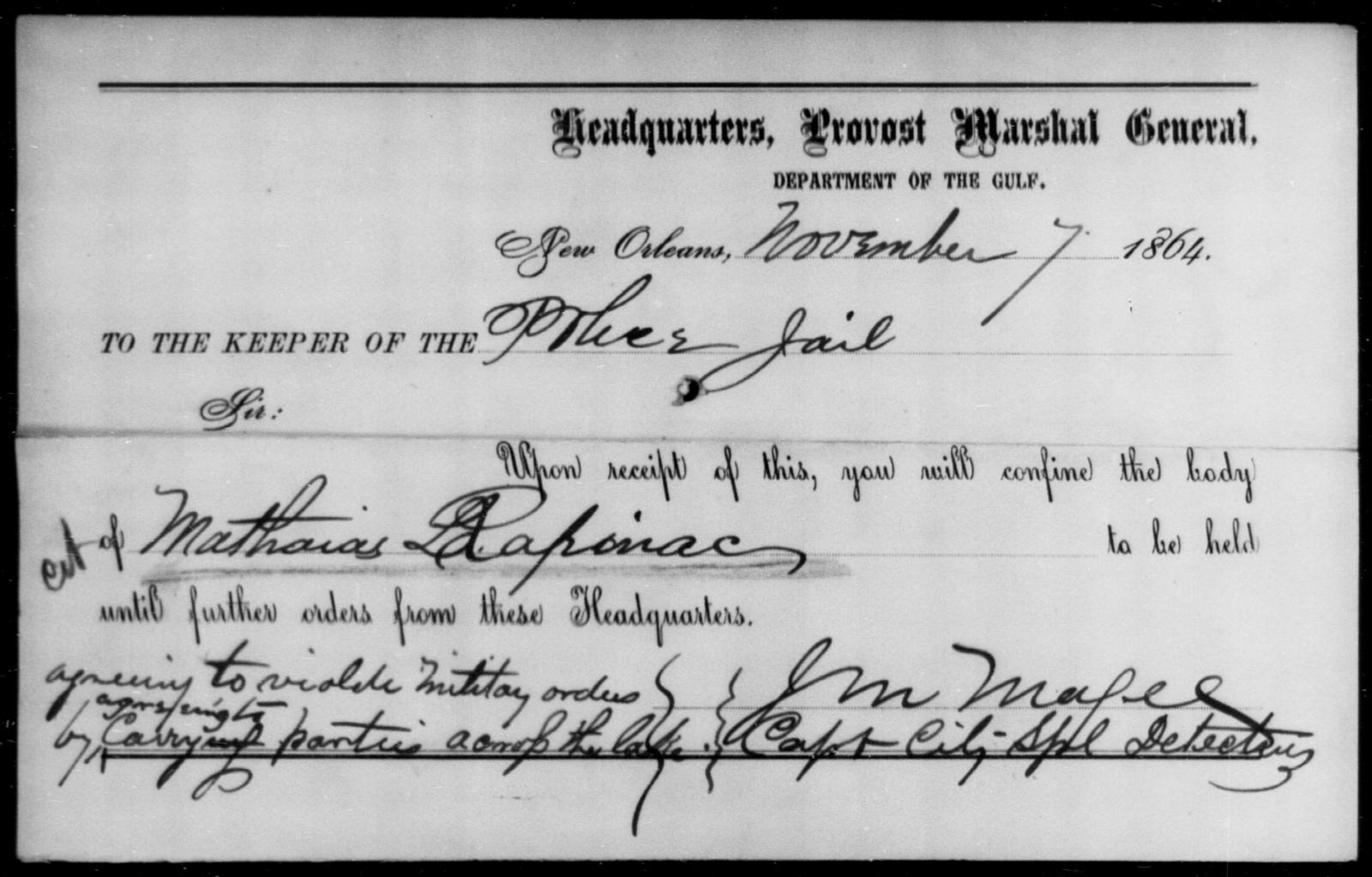 Rapinae, Mathaias - State: [Blank] - Year: 1864