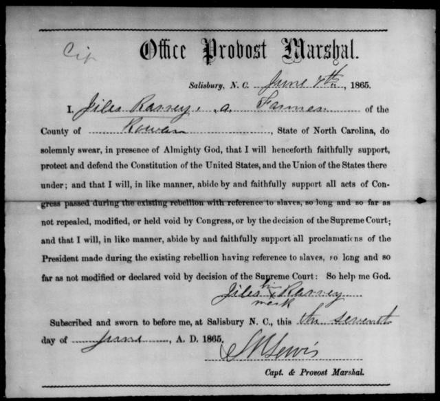 Rarrey, Jiles - State: North Carolina - Year: 1865