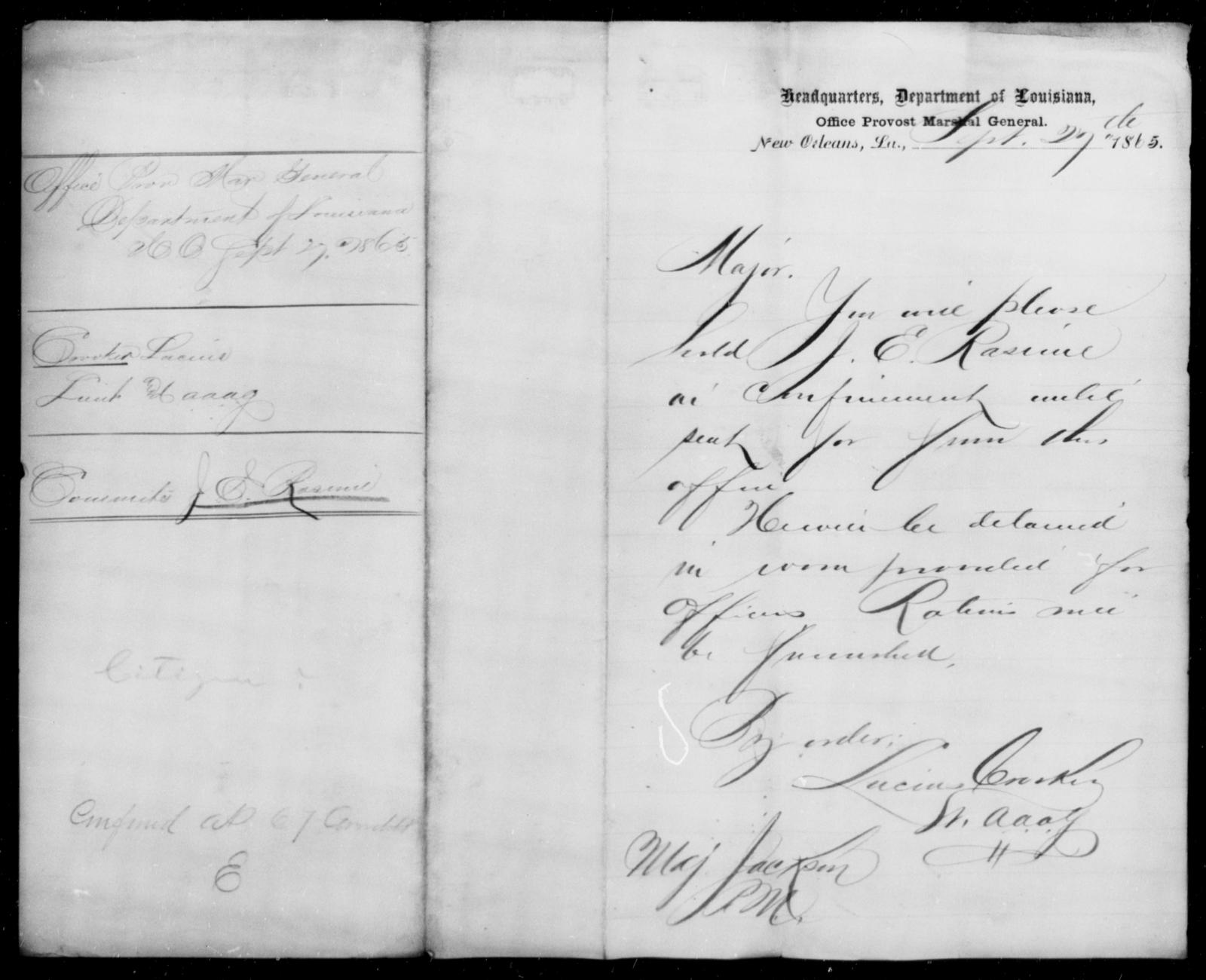 Rasimi, J E - State: Louisiana - Year: 1865
