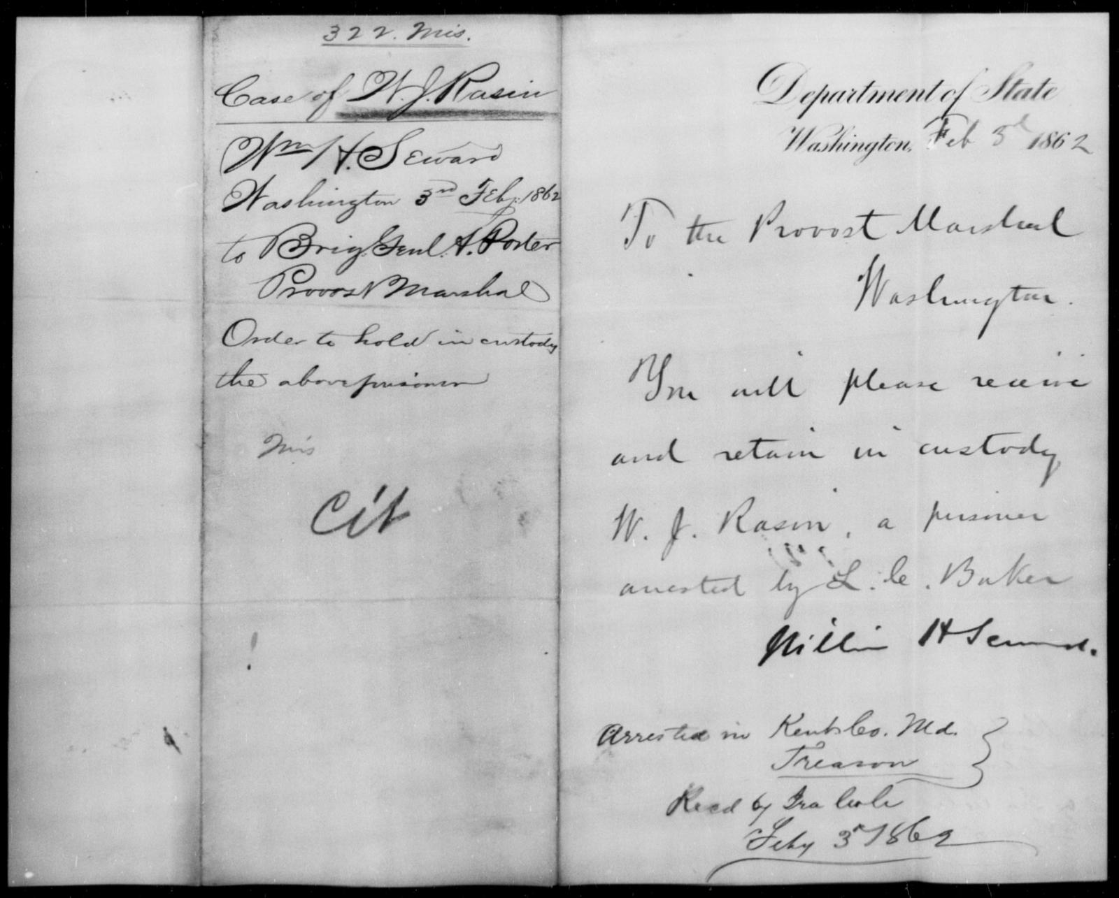 Rasin, W J - State: Washington - Year: 1862