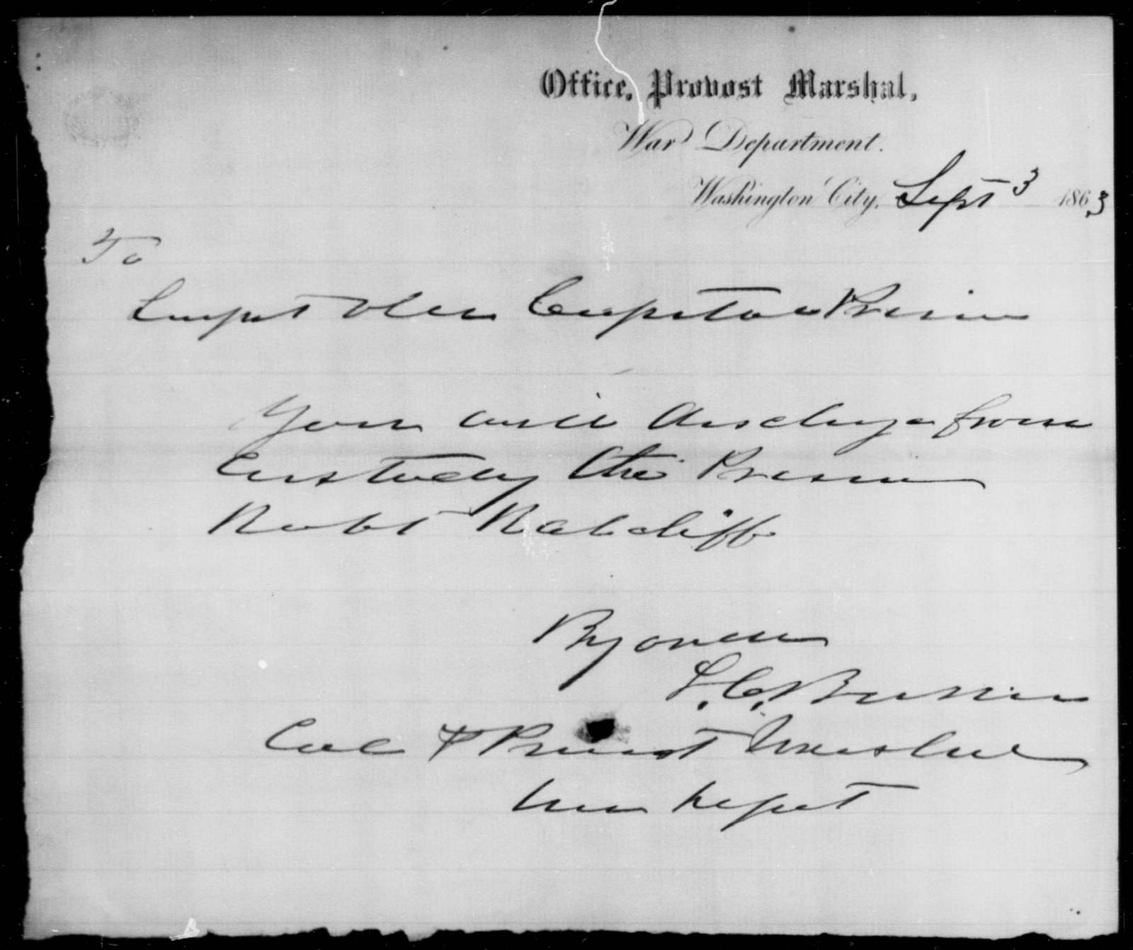Ratcliff, Robt - State: [Blank] - Year: 1863