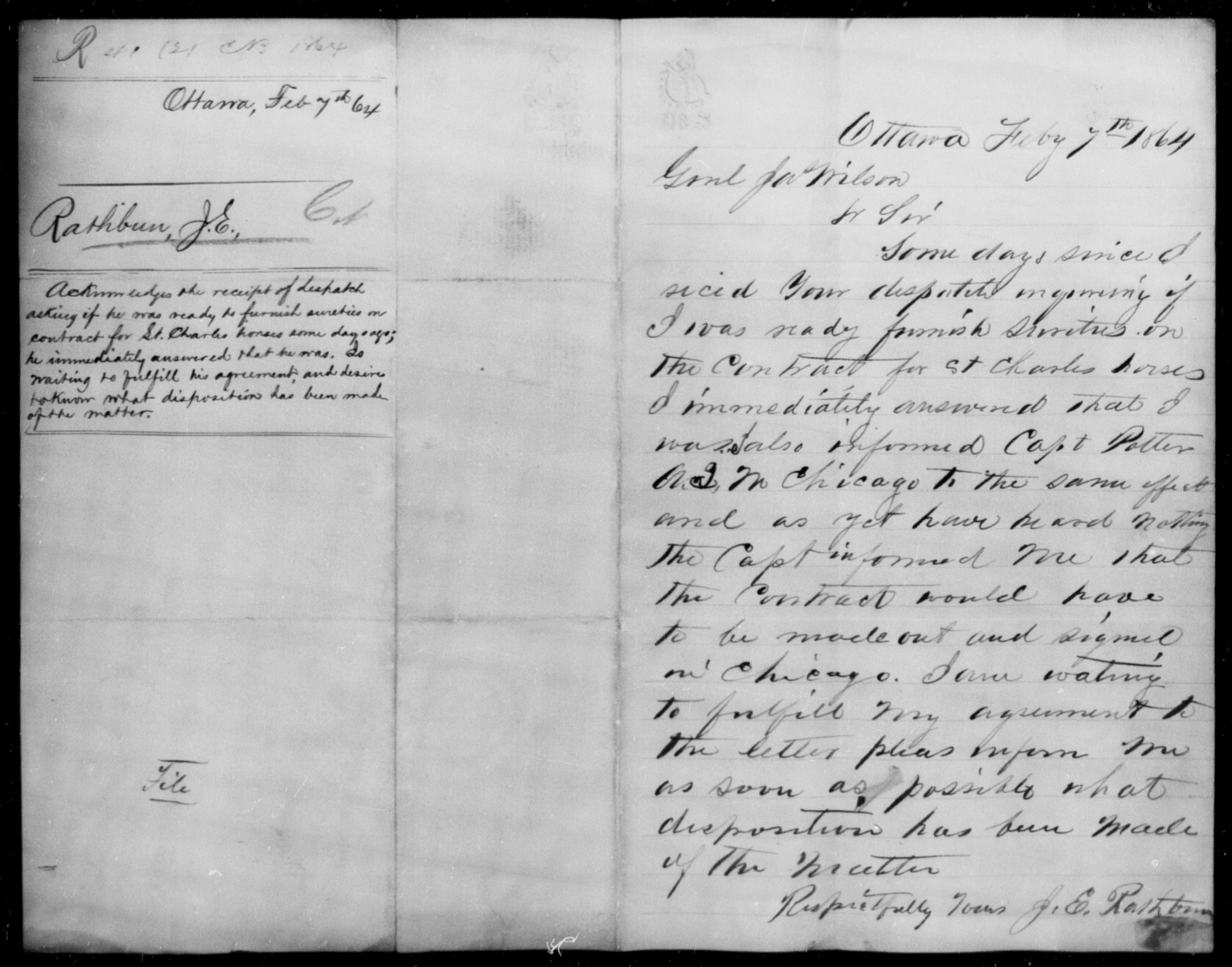 Rathbun, J E - State: [Blank] - Year: 1864