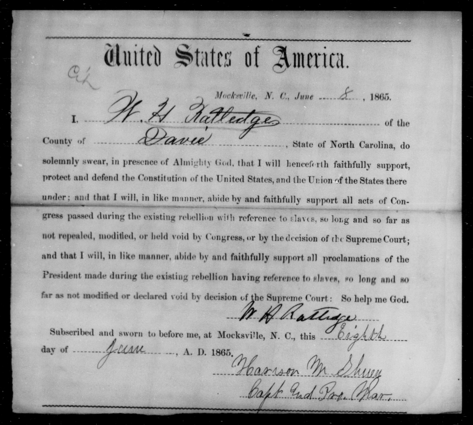 Ratledge, W H - State: North Carolina - Year: 1865