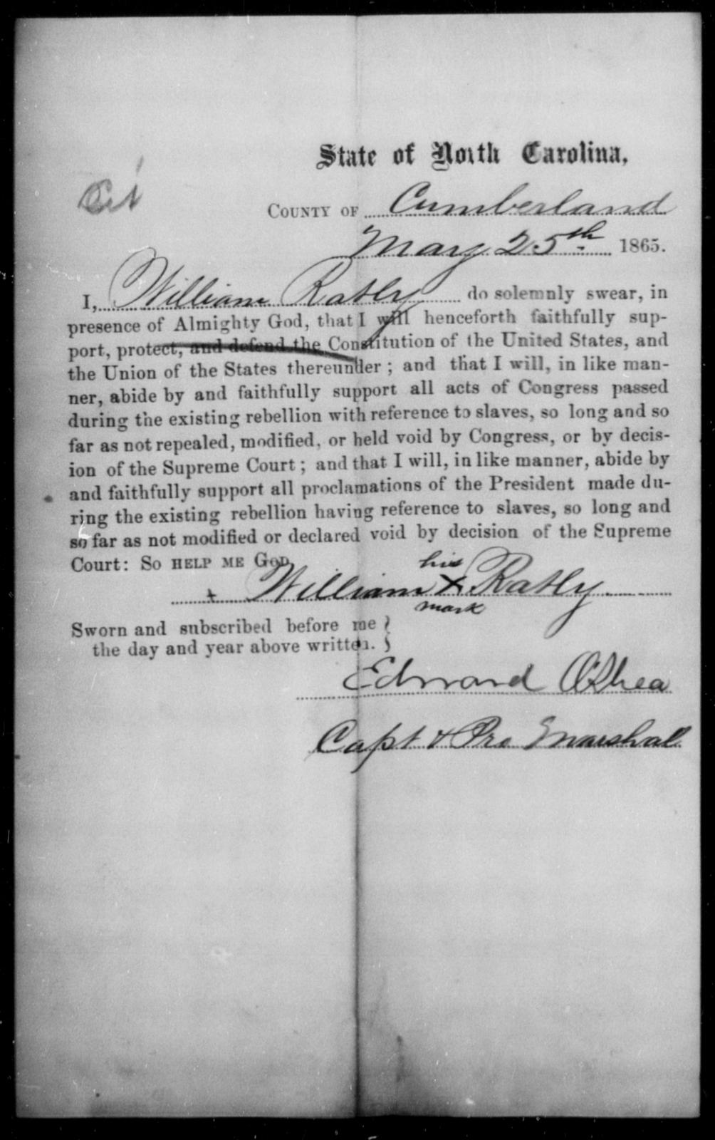 Ratly, William - State: North Carolina - Year: 1865