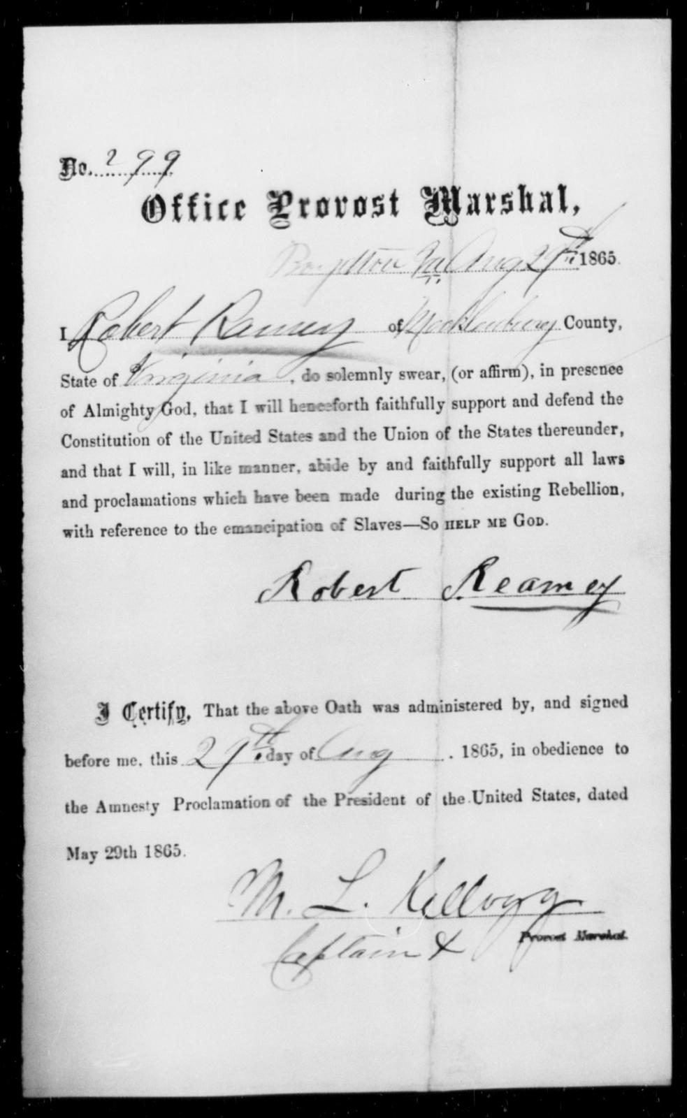 Reamey, Robert - State: Virginia - Year: 1865