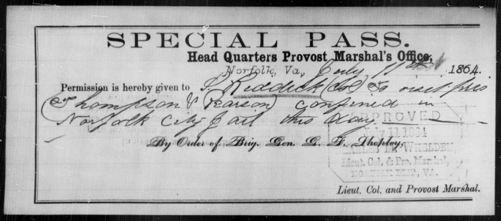 Reddick, S - State: Virginia - Year: 1864