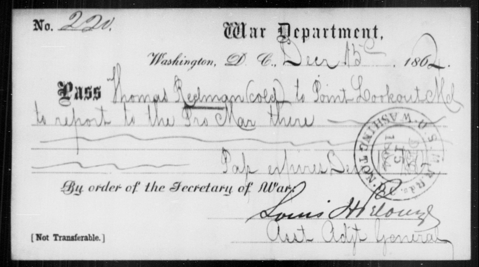 Redman, Thomas - State: District of Columbia - Year: 1864