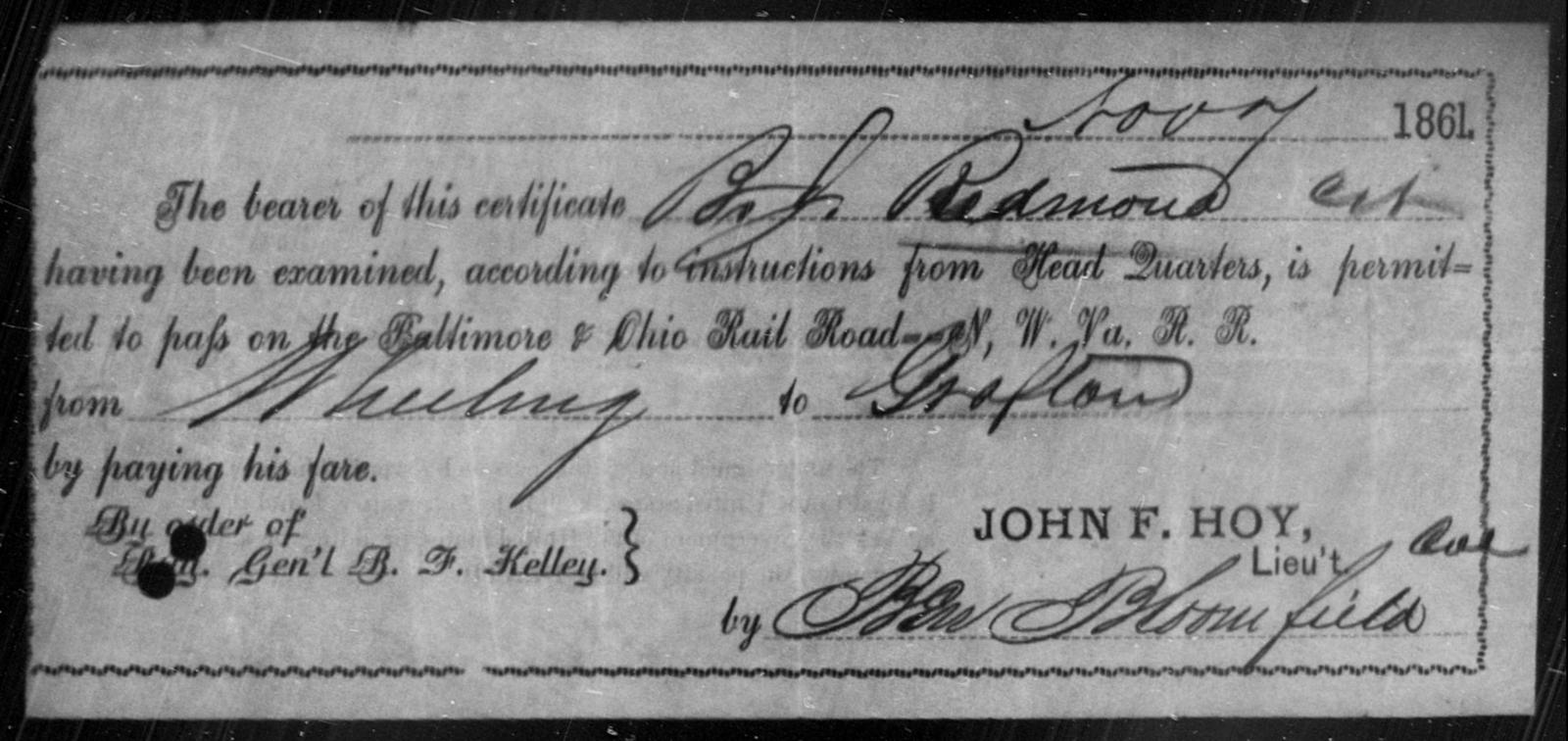 Redmond, B J - State: Ohio - Year: 1861
