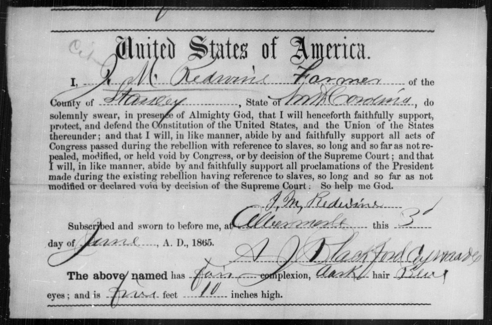 Redwine, J M - State: North Carolina - Year: 1865