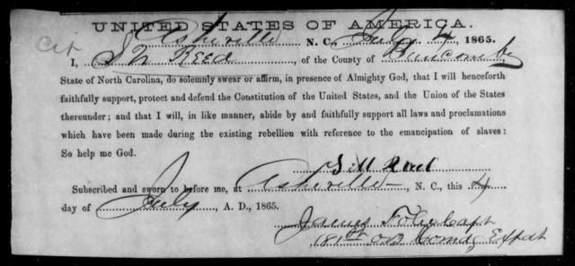 Reed, S W - State: North Carolina - Year: 1865