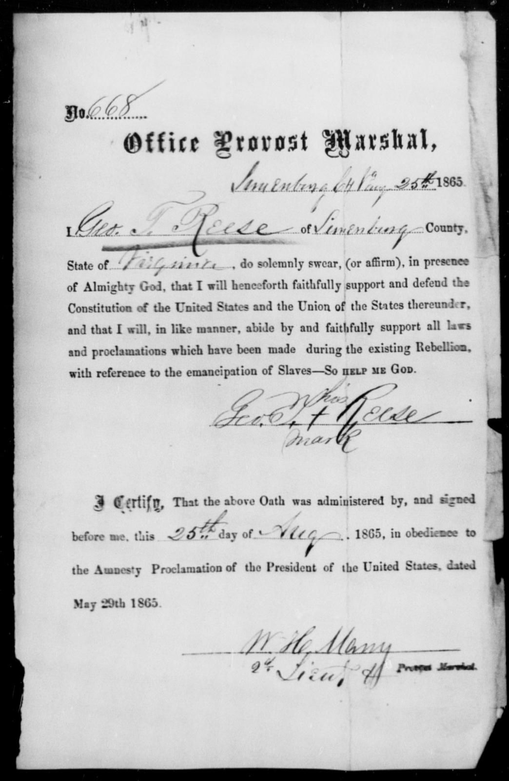 Reese, Geo T - State: Virginia - Year: 1865
