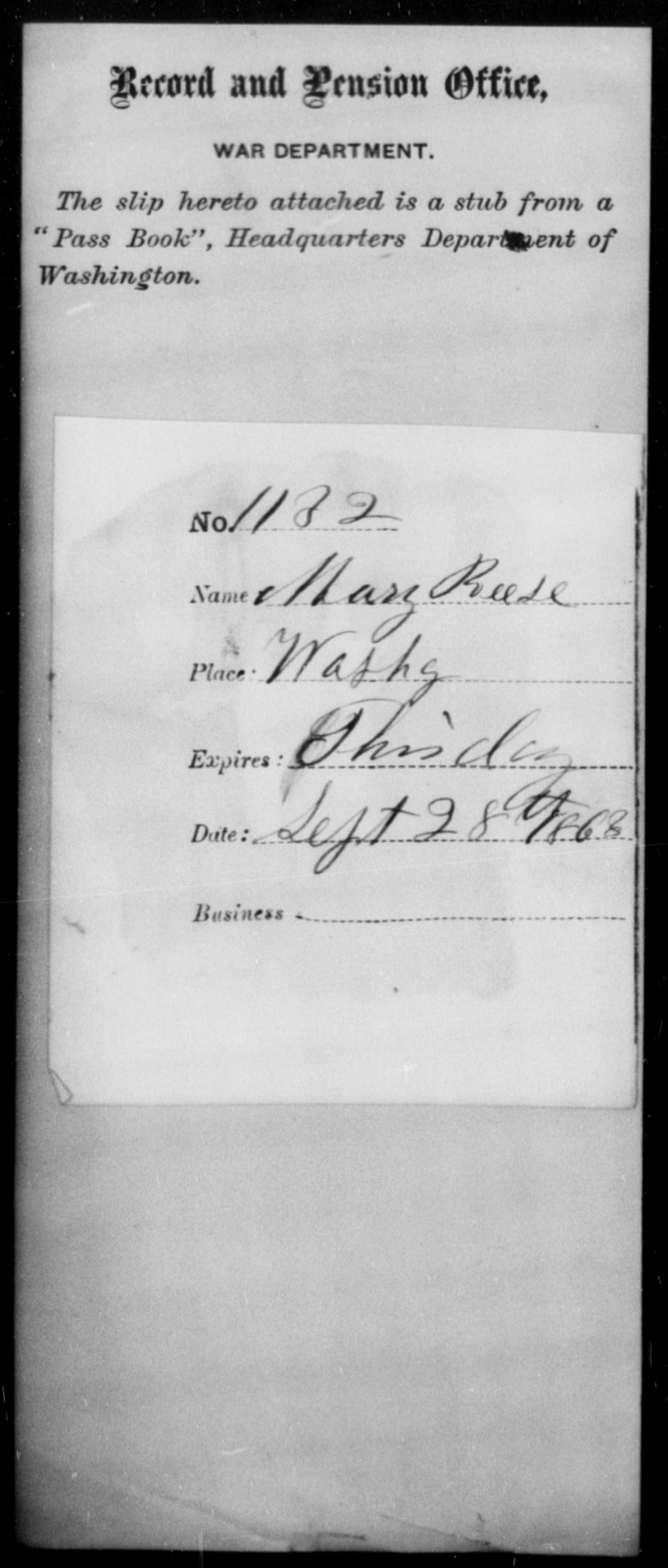 Reese, Mary - State: Washington - Year: 1863