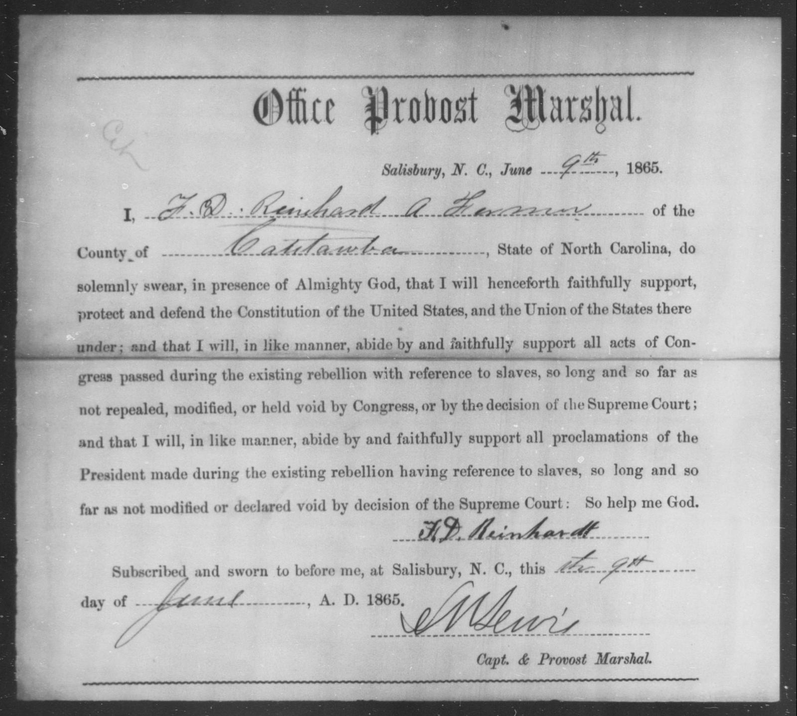 Reinhard, F D - State: North Carolina - Year: 1865