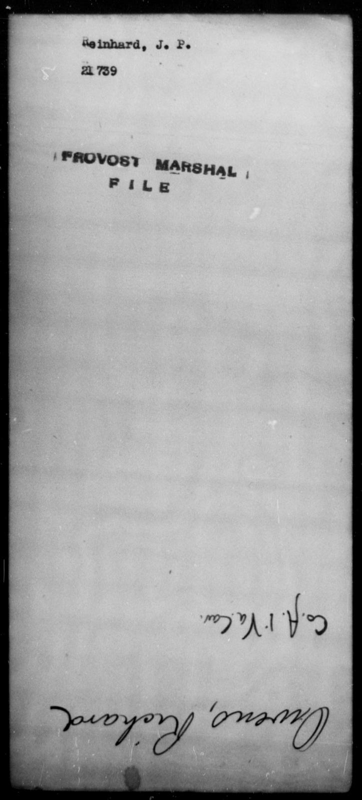 Reinhard, J P - State: [Blank] - Year: [Blank]