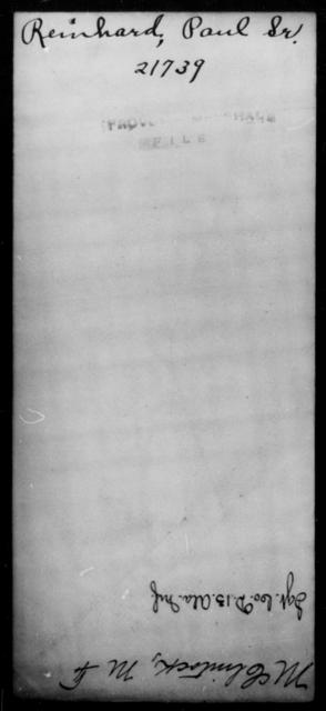 Reinhard, Paul - State: [Blank] - Year: [Blank]