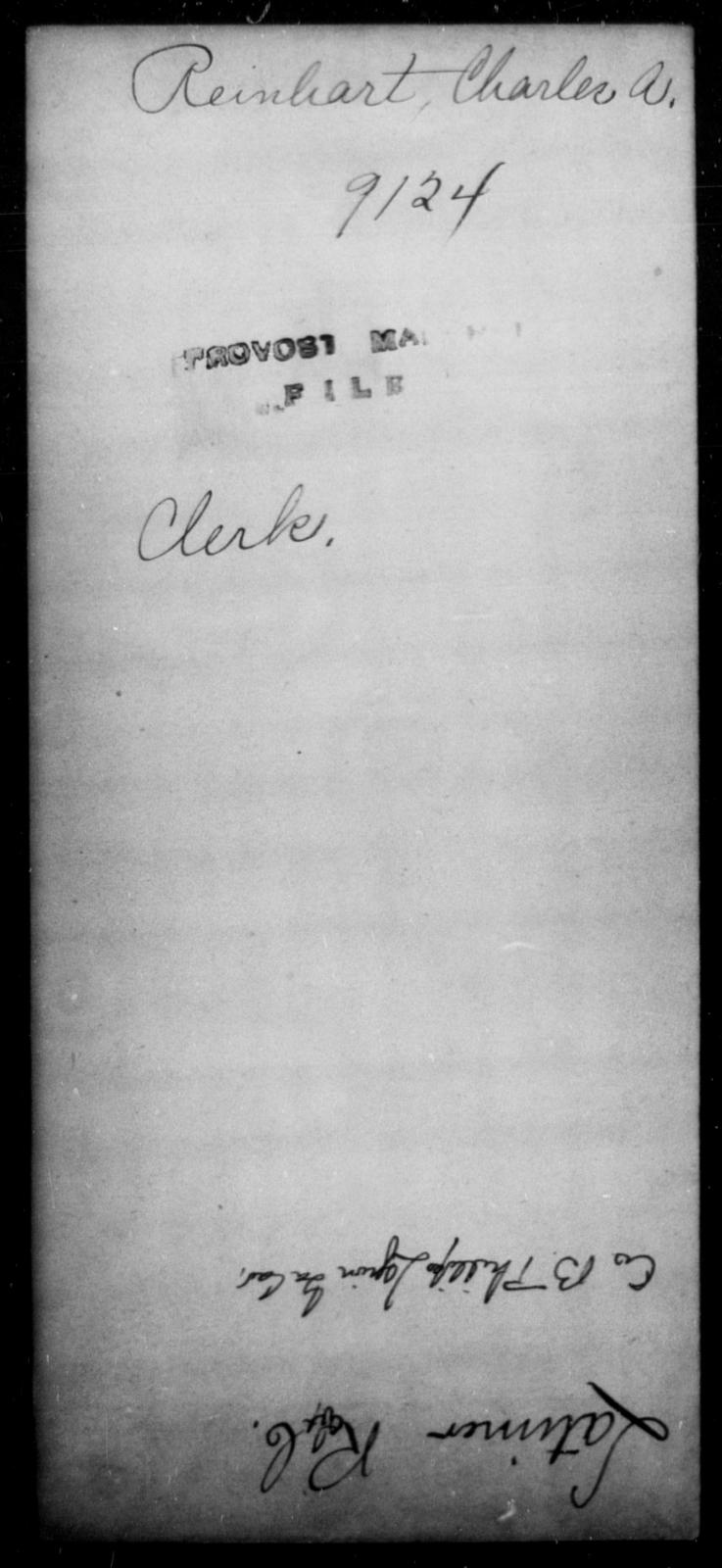 Reinhart, Charles A - State: [Blank] - Year: [Blank]