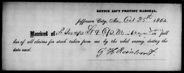 Reinhart, G H - State: Missouri - Year: 1864