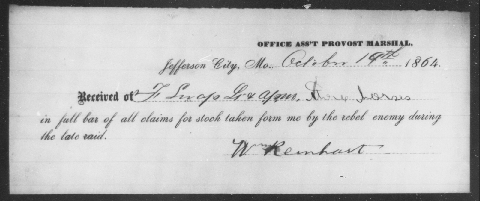 Reinhart, Wm - State: Missouri - Year: 1864