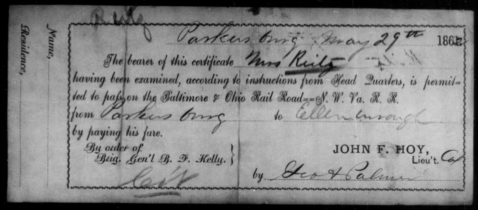 Reitz, [Blank] - State: Ohio - Year: 1862
