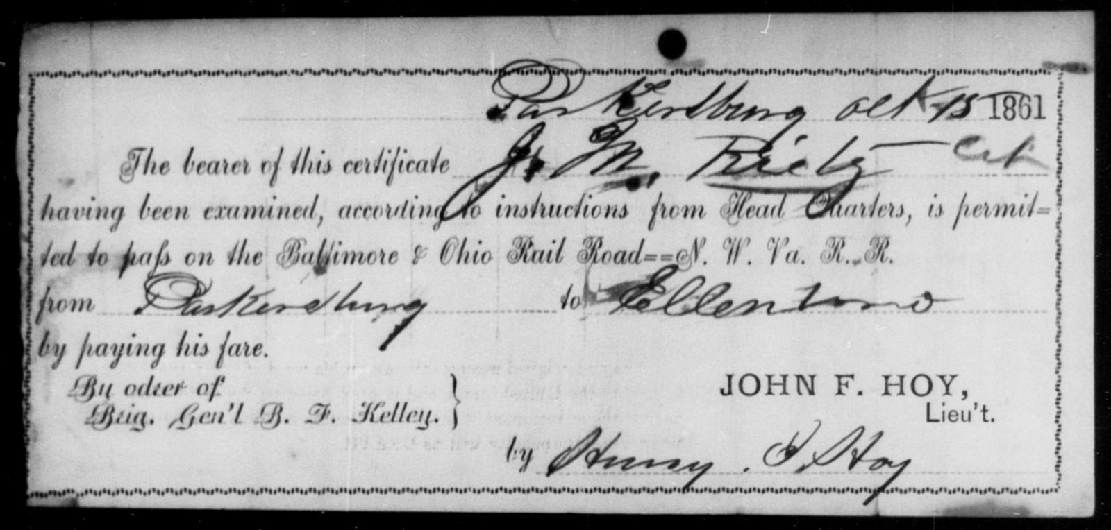 Reitz, J M - State: Ohio - Year: 1861