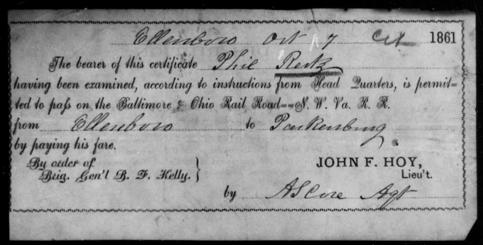 Reitz, Phil - State: Ohio - Year: 1861