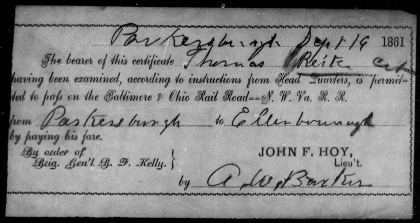Reitz, Thomas - State: Ohio - Year: 1861
