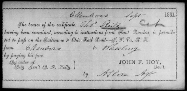Reitz, Thos - State: Ohio - Year: 1861