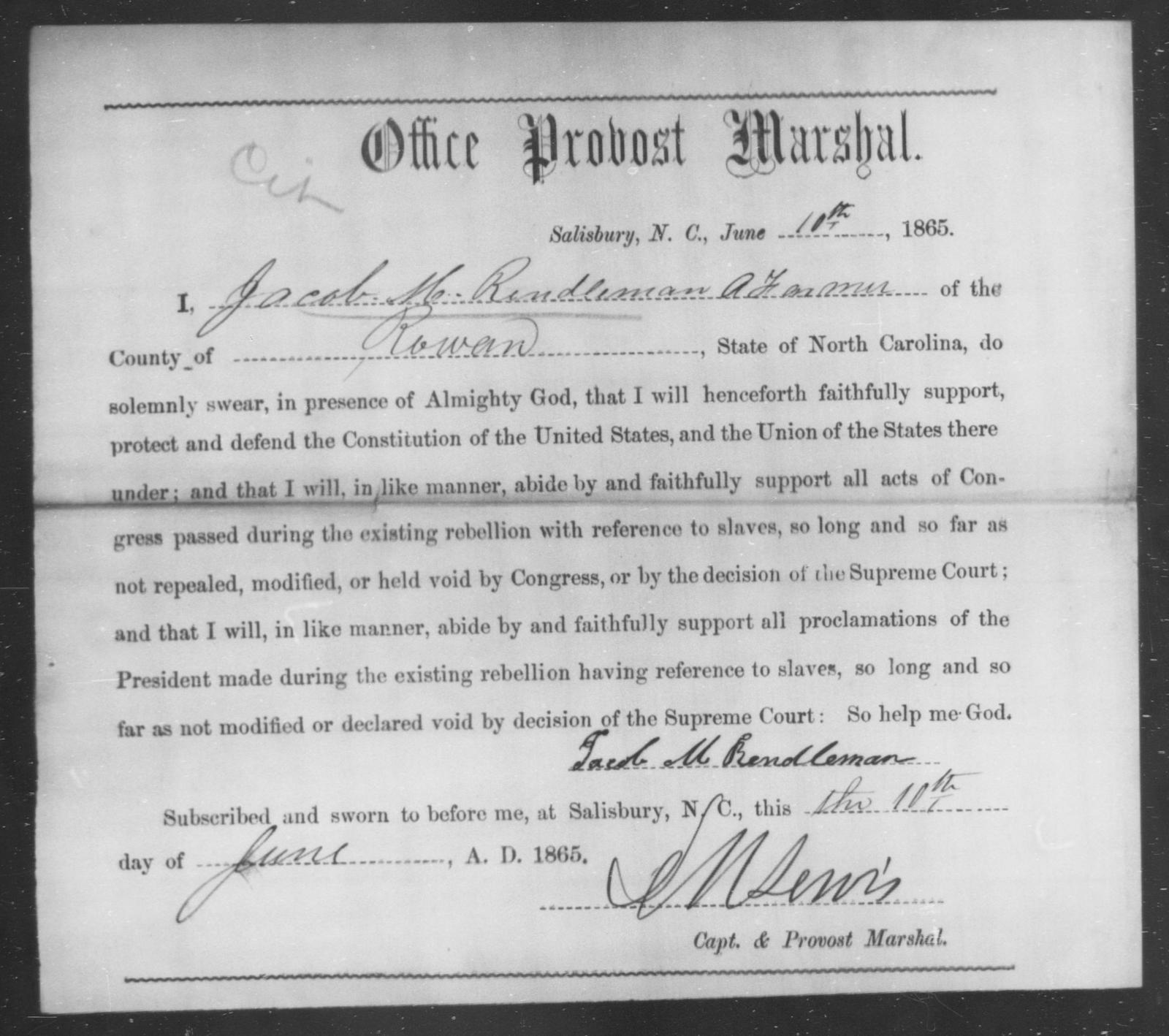 Rendleman, Jacob M - State: North Carolina - Year: 1865