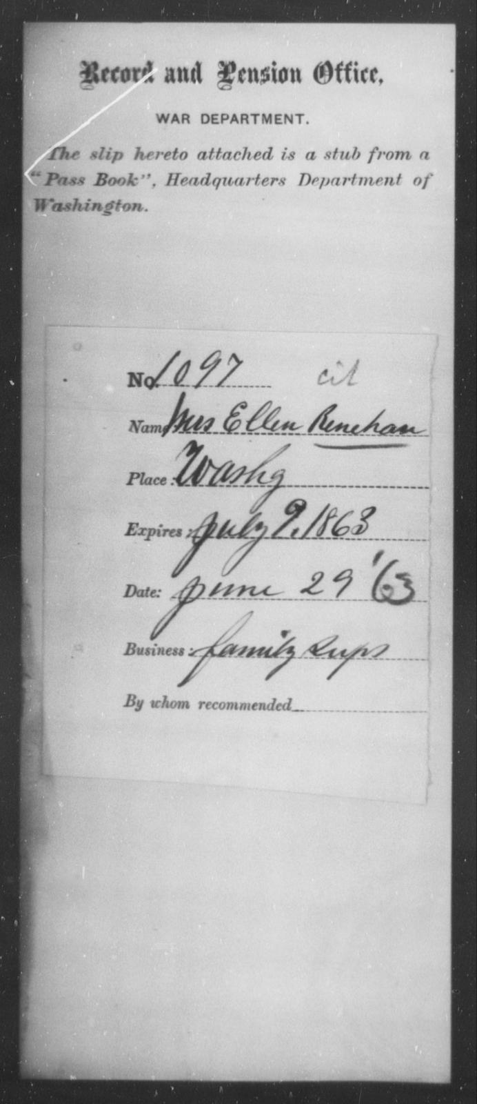Renehan, Ellen - State: Washington - Year: 1863