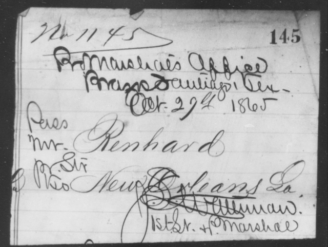 Renhard, [Blank] - State: Texas - Year: 1865