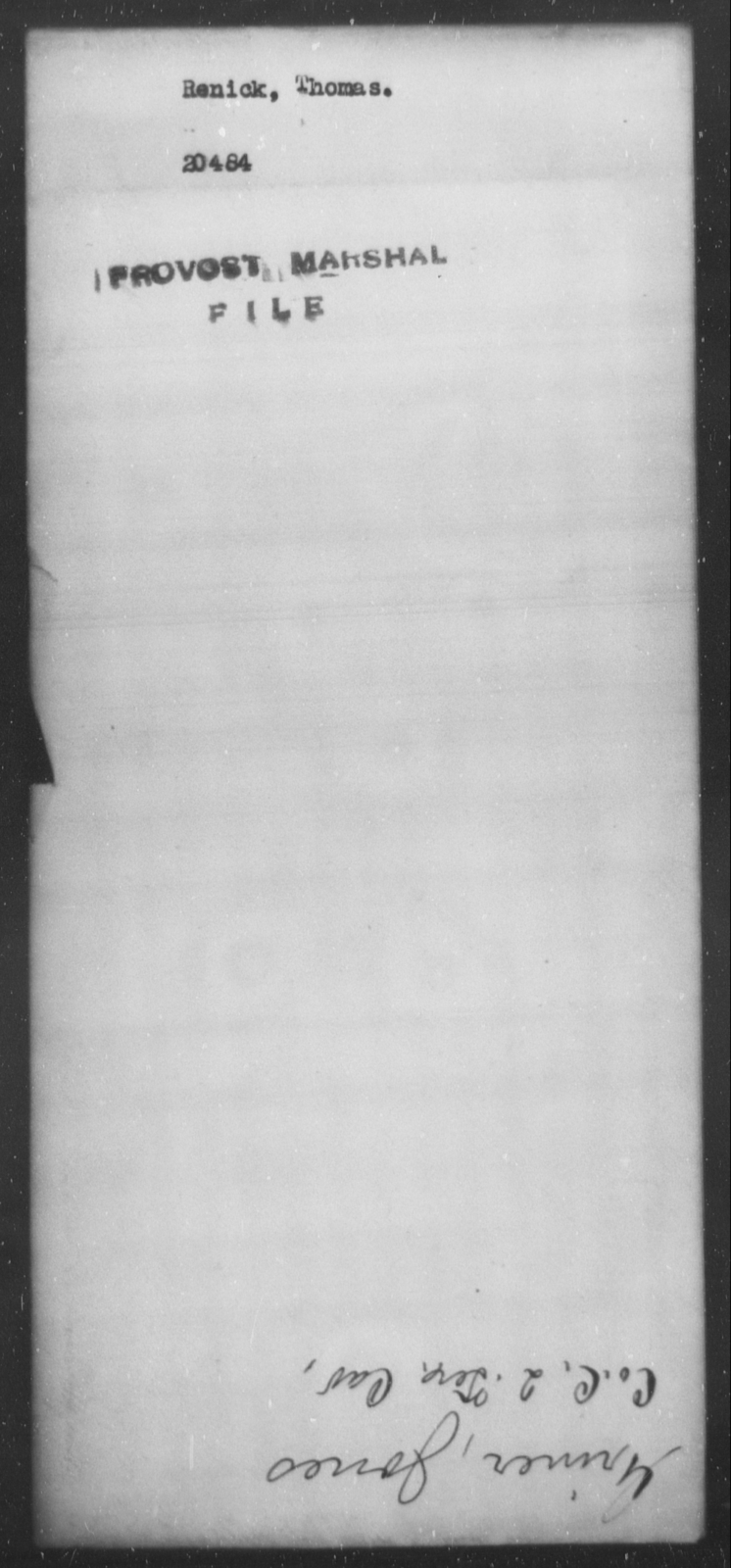 Renick, Thomas - State: [Blank] - Year: [Blank]