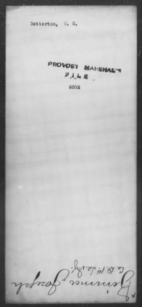 Retterton, W G - State: [Blank] - Year: [Blank]