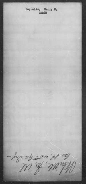 Reynolds, Harry W - State: [Blank] - Year: [Blank]