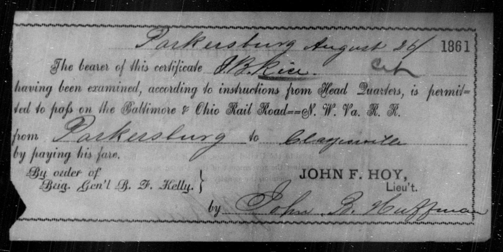 Rice, J B - State: Ohio - Year: 1861