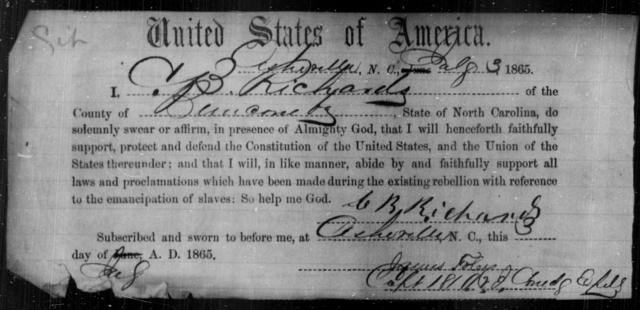 Richards, C B - State: North Carolina - Year: 1865