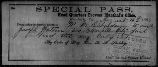 Richardson, W M - State: Virginia - Year: 1864