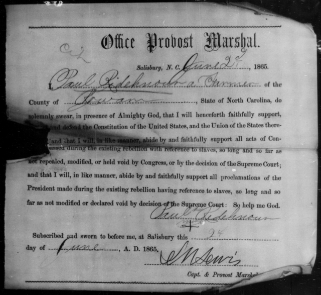 Ridehnour, Paul - State: North Carolina - Year: 1865
