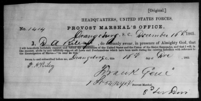 Riley, D A - State: South Carolina - Year: 1865