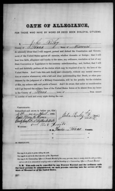 Riley, John - State: Missouri - Year: 1863