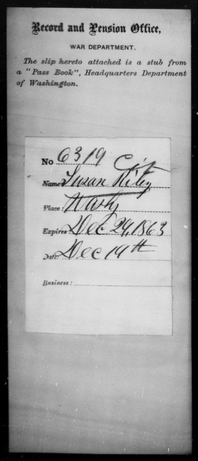 Riley, Susan - State: Washington - Year: 1863