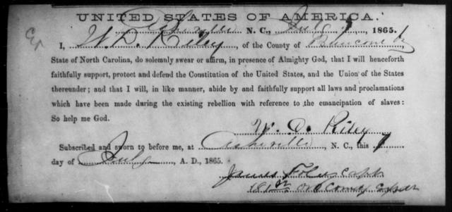 Riley, W D - State: North Carolina - Year: 1865