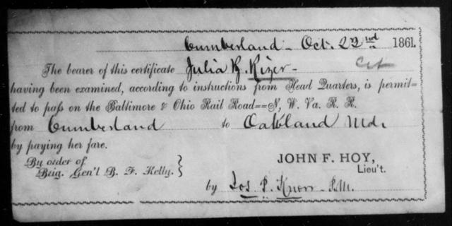 Rizer, Julia R - State: Ohio - Year: 1861